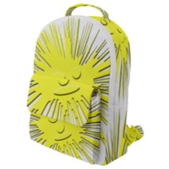 Smilie Sun Emoticon Yellow Cheeky Flap Pocket Backpack (small) by HermanTelo