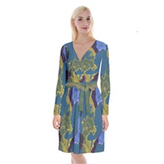 Map Geography World Long Sleeve Velvet Front Wrap Dress