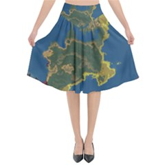 Map Geography World Flared Midi Skirt by HermanTelo