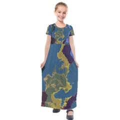 Map Geography World Kids  Short Sleeve Maxi Dress by HermanTelo