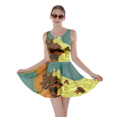 Map Geography World Yellow Skater Dress