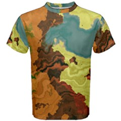 Map Geography World Yellow Men s Cotton Tee