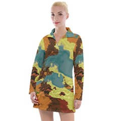 Map Geography World Yellow Women s Long Sleeve Casual Dress by HermanTelo