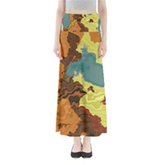 Map Geography World Yellow Full Length Maxi Skirt