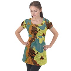 Map Geography World Yellow Puff Sleeve Tunic Top