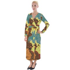 Map Geography World Yellow Velvet Maxi Wrap Dress