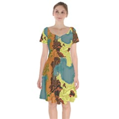 Map Geography World Yellow Short Sleeve Bardot Dress