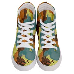 Map Geography World Yellow Women s Hi-top Skate Sneakers