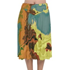 Map Geography World Yellow Velvet Flared Midi Skirt by HermanTelo