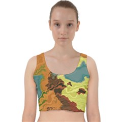 Map Geography World Yellow Velvet Racer Back Crop Top by HermanTelo