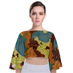 Map Geography World Yellow Tie Back Butterfly Sleeve Chiffon Top
