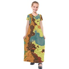 Map Geography World Yellow Kids  Short Sleeve Maxi Dress by HermanTelo
