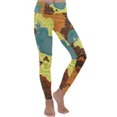Map Geography World Yellow Kids  Lightweight Velour Classic Yoga Leggings