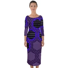 Networking Communication Technology Quarter Sleeve Midi Bodycon Dress by HermanTelo
