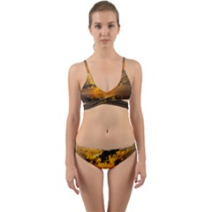 Sunset Reflection Birds Clouds Sky Wrap Around Bikini Set