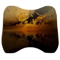 Sunset Reflection Birds Clouds Sky Velour Head Support Cushion