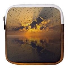 Sunset Reflection Birds Clouds Sky Mini Square Pouch