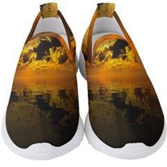 Sunset Reflection Birds Clouds Sky Kids  Slip On Sneakers by HermanTelo