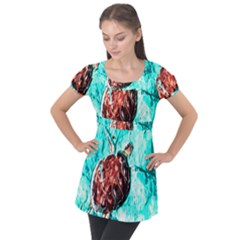 Tortoise Marine Animal Shell Sea Puff Sleeve Tunic Top