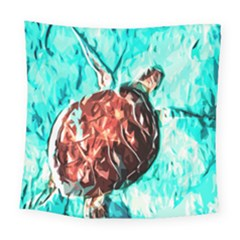 Tortoise Marine Animal Shell Sea Square Tapestry (large) by HermanTelo