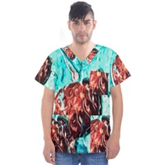 Tortoise Marine Animal Shell Sea Men s V-neck Scrub Top