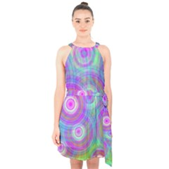 Circle Colorful Pattern Background Halter Collar Waist Tie Chiffon Dress