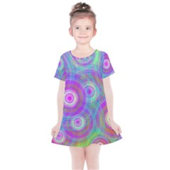 Circle Colorful Pattern Background Kids  Simple Cotton Dress