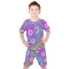 Circle Colorful Pattern Background Kids  Tee And Shorts Set by HermanTelo