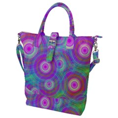 Circle Colorful Pattern Background Buckle Top Tote Bag