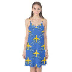 Aircraft Texture Blue Yellow Camis Nightgown by HermanTelo
