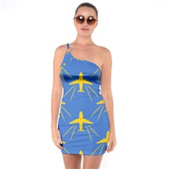 Aircraft Texture Blue Yellow One Soulder Bodycon Dress