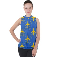 Aircraft Texture Blue Yellow Mock Neck Chiffon Sleeveless Top by HermanTelo