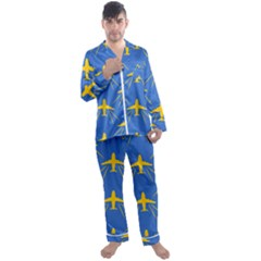 Aircraft Texture Blue Yellow Men s Satin Pajamas Long Pants Set