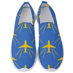 Aircraft Texture Blue Yellow Men s Slip On Sneakers by HermanTelo