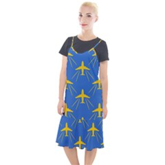 Aircraft Texture Blue Yellow Camis Fishtail Dress by HermanTelo