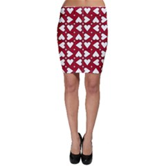 Graphic Heart Pattern Red White Bodycon Skirt