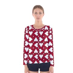 Graphic Heart Pattern Red White Women s Long Sleeve Tee by HermanTelo