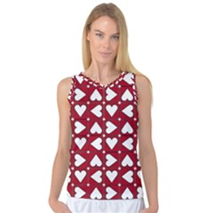 Graphic Heart Pattern Red White Women s Basketball Tank Top