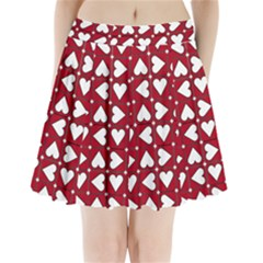 Graphic Heart Pattern Red White Pleated Mini Skirt