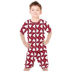 Graphic Heart Pattern Red White Kids  Tee And Shorts Set