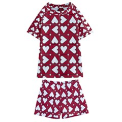 Graphic Heart Pattern Red White Kids  Swim Tee And Shorts Set