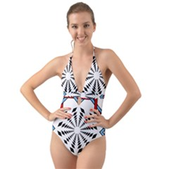 Star Illusion Mandala Halter Cut Out One Piece Swimsuit