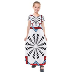Star Illusion Mandala Kids  Short Sleeve Maxi Dress by HermanTelo