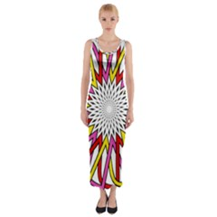 Sun Abstract Mandala Fitted Maxi Dress by HermanTelo