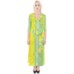 Ring Kringel Background Abstract Yellow Quarter Sleeve Wrap Maxi Dress by HermanTelo