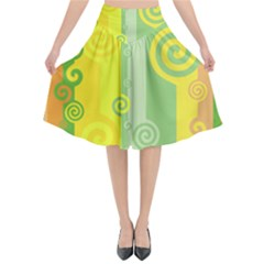 Ring Kringel Background Abstract Yellow Flared Midi Skirt
