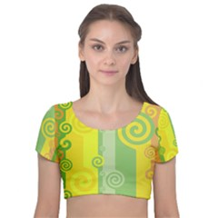 Ring Kringel Background Abstract Yellow Velvet Short Sleeve Crop Top
