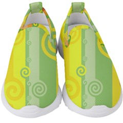 Ring Kringel Background Abstract Yellow Kids  Slip On Sneakers
