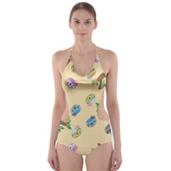 Sloth Neutral Color Cute Cartoon Cut Out One Piece Swimsuit