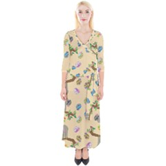 Sloth Neutral Color Cute Cartoon Quarter Sleeve Wrap Maxi Dress